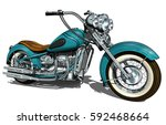 classic vintage motorcycle. | Shutterstock .eps vector #592468664