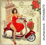 vintage poster paris. | Shutterstock .eps vector #592468670