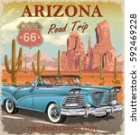 vintage arizona road trip...   Shutterstock .eps vector #592469228