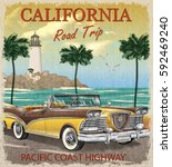 vintage california road trip... | Shutterstock .eps vector #592469240