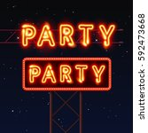 street sign that says party.... | Shutterstock .eps vector #592473668