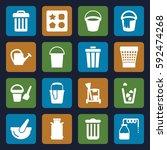 bucket icons set. set of 16... | Shutterstock .eps vector #592474268