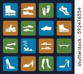 footwear icons set. set of 16... | Shutterstock .eps vector #592476554