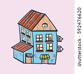 vector hand drawn house colored | Shutterstock .eps vector #592476620