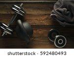 top view of black iron... | Shutterstock . vector #592480493