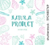 banner with sea life elements... | Shutterstock .eps vector #592480769