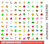 100 garden icons set in cartoon ... | Shutterstock .eps vector #592481900