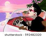 the stylish woman in a retro... | Shutterstock . vector #592482320