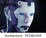 The Head Of A Cyborg On A Black ...