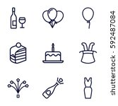 party icons set. set of 9 party ... | Shutterstock .eps vector #592487084