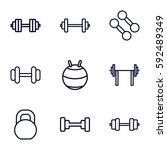 dumbbell icons set. set of 9... | Shutterstock .eps vector #592489349
