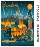 Barcelona Cityscape At Night....