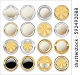 empty gold and silver labels... | Shutterstock .eps vector #592492088