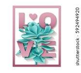 succulent love frame   Shutterstock .eps vector #592494920