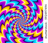 Colorful Spirals. Spin Illusion.