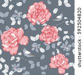 roses with leaves and birds... | Shutterstock .eps vector #592504820
