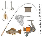 set of fishing tackles in flat... | Shutterstock .eps vector #592505390