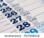 detail of a calendar page with... | Shutterstock . vector #592508618