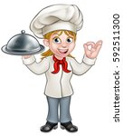 Cartoon Woman Chef Or Baker...