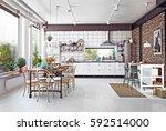 modern loft kitchen interior.... | Shutterstock . vector #592514000