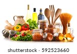 assorted food products and... | Shutterstock . vector #592523660