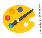 paint brush with palette vector ... | Shutterstock .eps vector #592525370