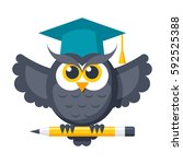 wisdom concept with owl in... | Shutterstock .eps vector #592525388