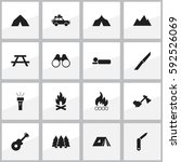 set of 16 editable trip icons.... | Shutterstock .eps vector #592526069