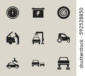 set of 9 editable vehicle icons.... | Shutterstock .eps vector #592528850