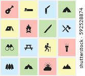 set of 16 editable trip icons.... | Shutterstock .eps vector #592528874