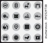 set of 16 editable transport... | Shutterstock .eps vector #592529738