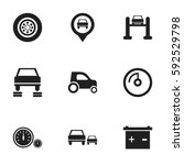 set of 9 editable vehicle icons.... | Shutterstock .eps vector #592529798