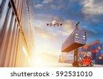 container cargo freight ship...   Shutterstock . vector #592531010