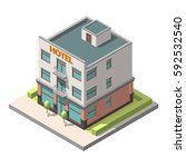 isometric representing hotel... | Shutterstock . vector #592532540