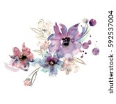 Stock photo cute watercolor hand painted flowers invitation wedding card birthday card 592537004