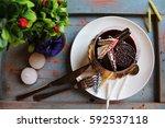 Chocolate Cake With Waffle And...