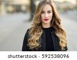 close up portrait of young... | Shutterstock . vector #592538096