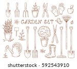 hand drawn set of vintage... | Shutterstock .eps vector #592543910