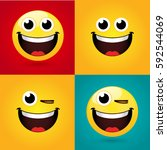 emoticon or smiley icon set for ... | Shutterstock .eps vector #592544069