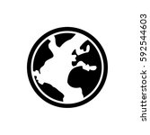 flat silhouette world icon | Shutterstock .eps vector #592544603