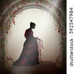 girl with red roses in the... | Shutterstock .eps vector #592547984