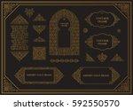 arabic raster set of frames.... | Shutterstock . vector #592550570