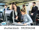 young business people working... | Shutterstock . vector #592554248