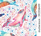 watercolor lovely dolphins... | Shutterstock . vector #592558499