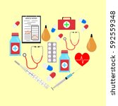 heart form with medicine icons. ...   Shutterstock .eps vector #592559348