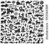animals doodles | Shutterstock .eps vector #592564589