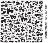 animals doodles | Shutterstock .eps vector #592564589