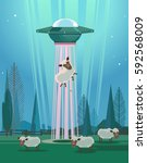 ufo stealing sheep character.... | Shutterstock .eps vector #592568009