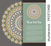 mandala vector  greeting ... | Shutterstock .eps vector #592571900