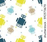 cute robots seamless pattern.... | Shutterstock .eps vector #592573670